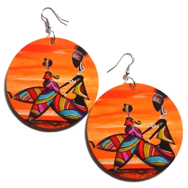 Mother and Daughter African Statement Dangle Wood Earrings