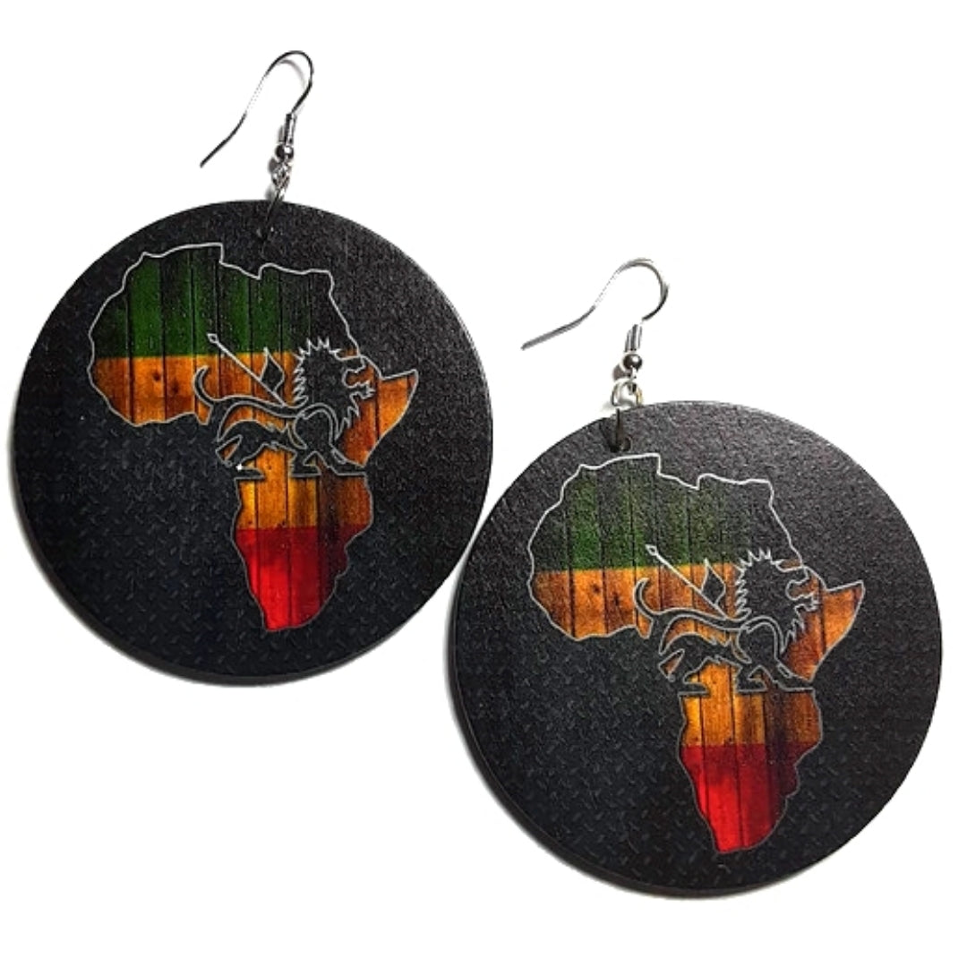 Africa Lion of Judah Statement Dangle Wood Earrings