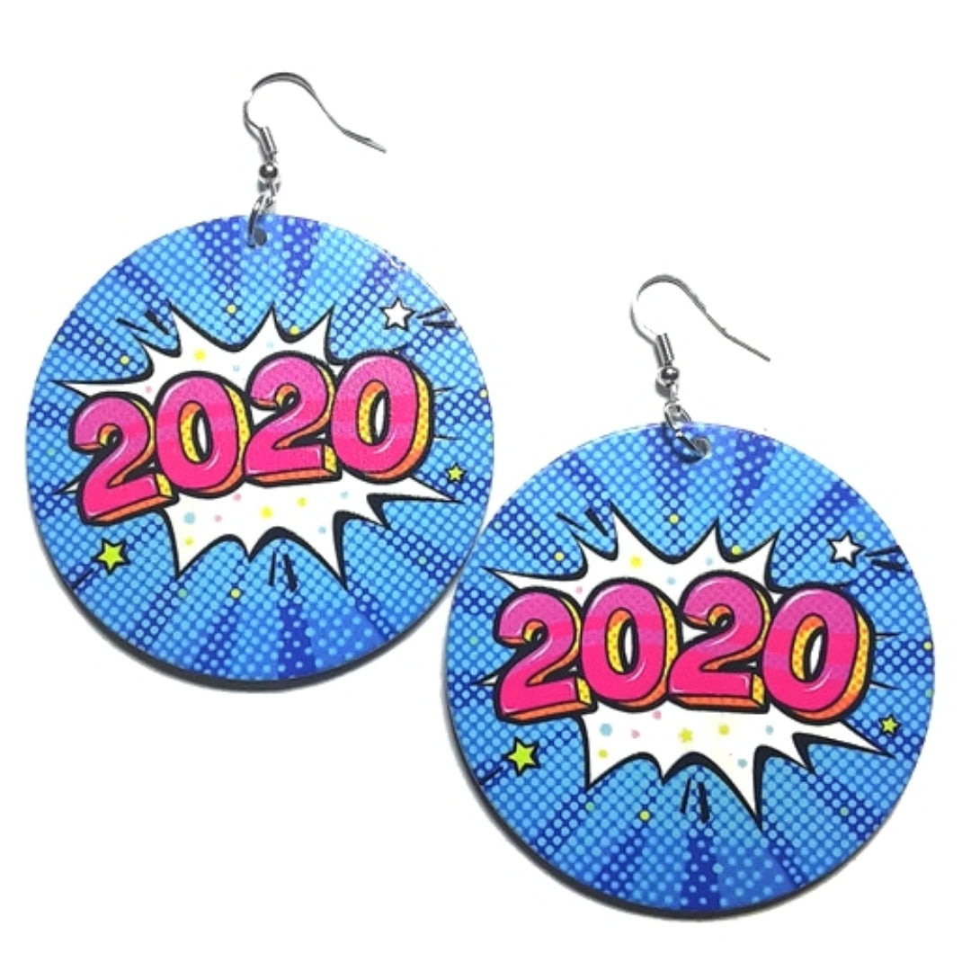 2020 Comic Blast Statement Dangle Wood Earrings