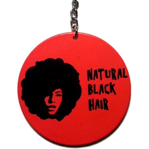 Natural Black Hair Red Keychain