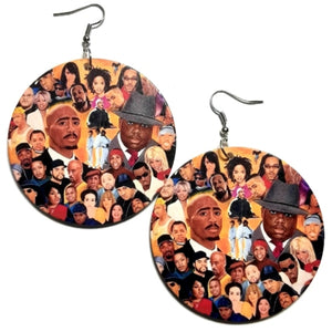 HIP HOP Greatest Legends Statement Dangle Wood Earrings