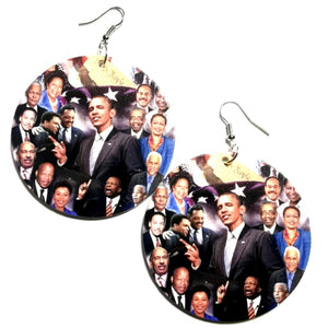 Black Politicians in the House Statement Dangle Wood Earrings