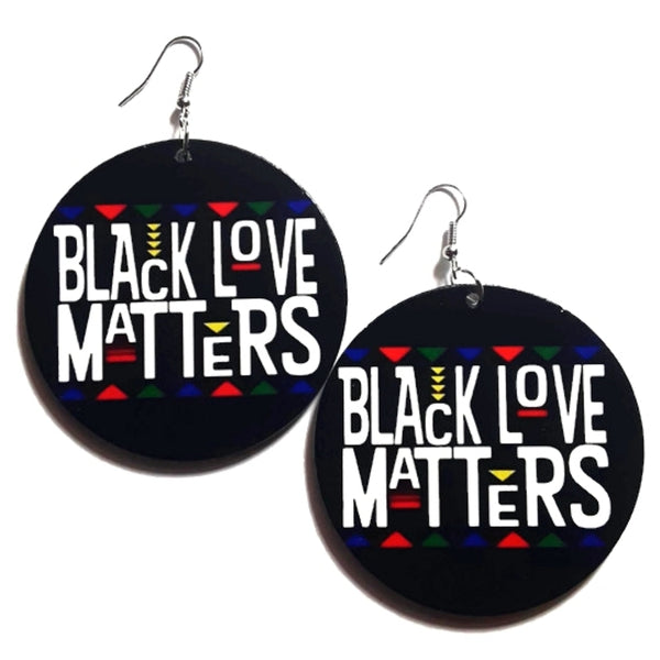 BLACK LOVE MATTERS Multi Colors Statement Dangle Wood Earrings
