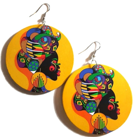Kwanzaa Queen Statement Dangle Wood Earrings