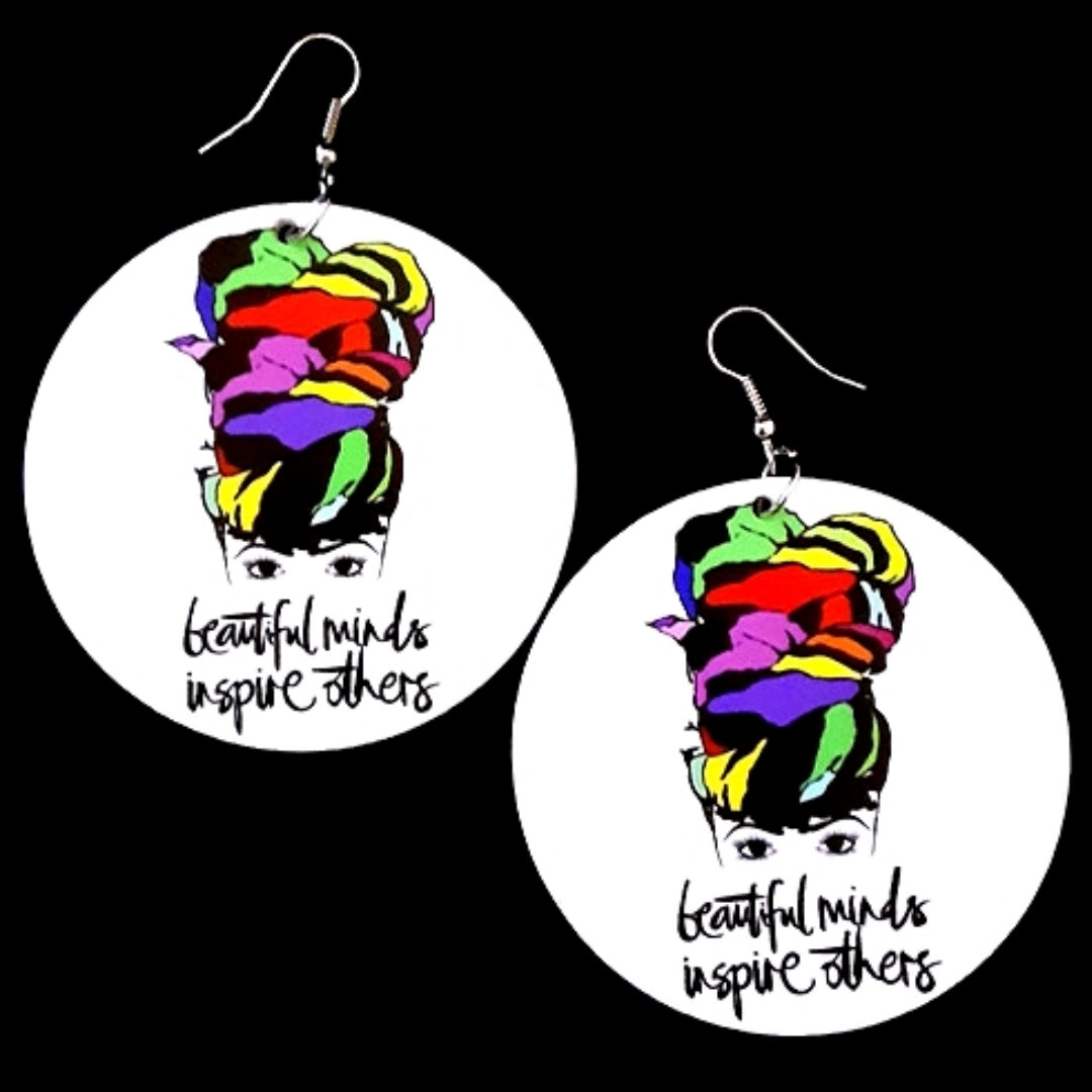 Turban Queen Beautiful Minds Inspire Others Chartreuse Statement Dangle Wood Earrings