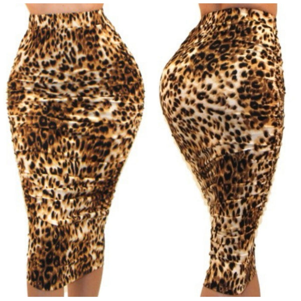 Got Style Cheetah Leopard Ruched Frill High Waist Mid Calf Bodycon Casual Pencil Skirt