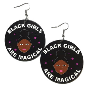 Black Girls are Magical Small Statement Dangle Wood Earrings