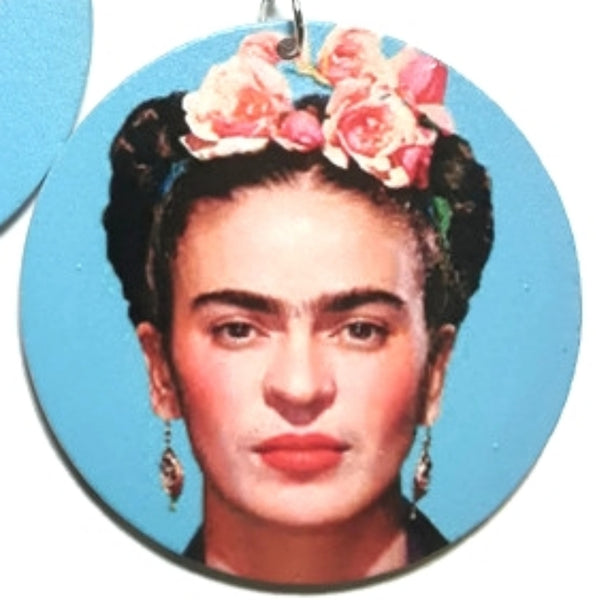 Frida Kahlo Joyful Turquoise Statement Dangle Wood Earrings