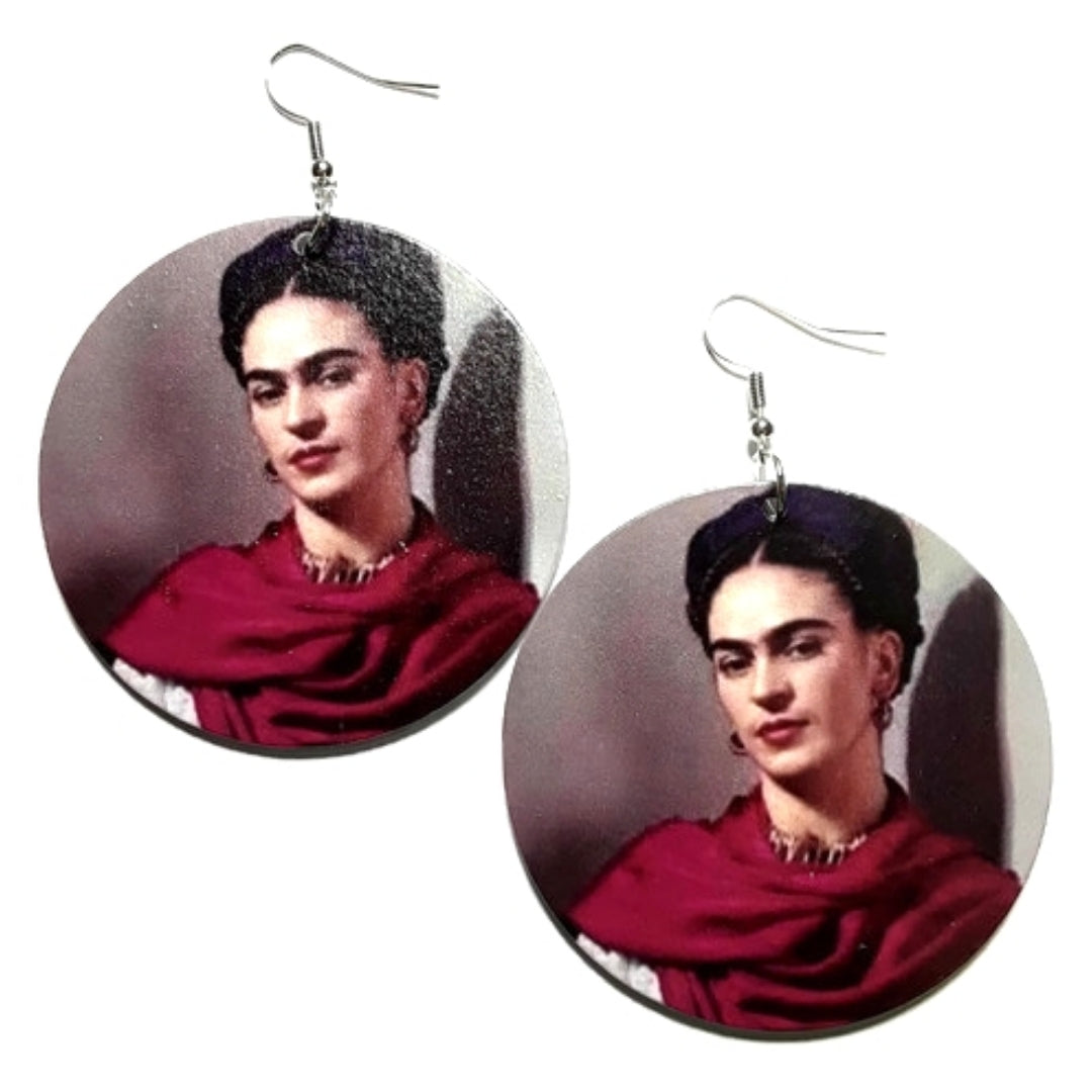 Frida Kahlo Beauty In Paint Statement Dangle Wood Earrings