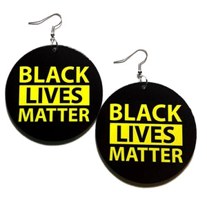 BLACK LIVES MATTER Yellow Statement Dangle Wood Earrings