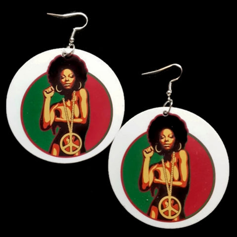 Soul Sista Peace Statement Dangle Wood Earrings