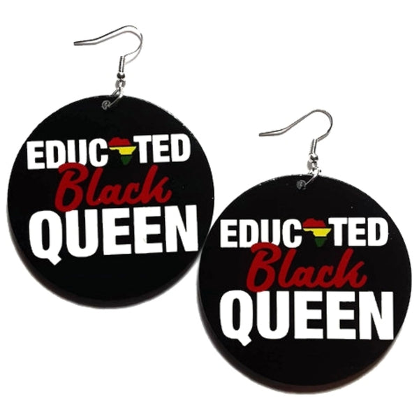 Educated Black Queen Africa Statement Dangle Wood Earrings