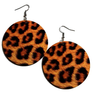 LEOPARD Statement Dangle Wood Earrings