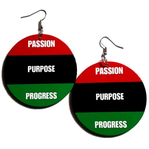 Passion Purpose Progress Red Black Green Statement Dangle Wood Earrings