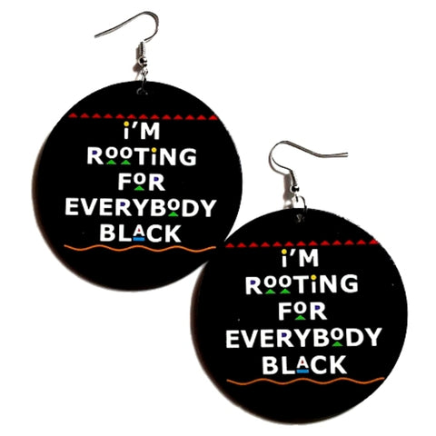 Rooting for Everybody Black in Colors Statement Dangle Wood Earrings