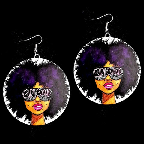 Girl Gang Purple Natural Hair Statement Dangle Wood Earrings