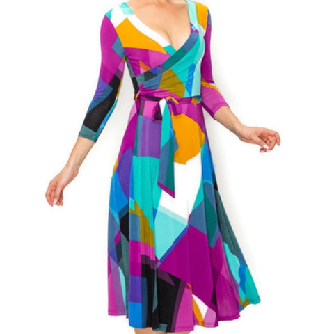 Purple Patches Faux Wrap Knee Length Dress