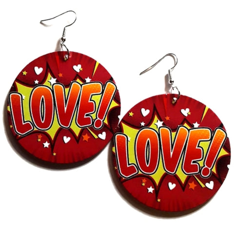LOVE Comic Blast Red Yellow Statement Dangle Wood Earrings