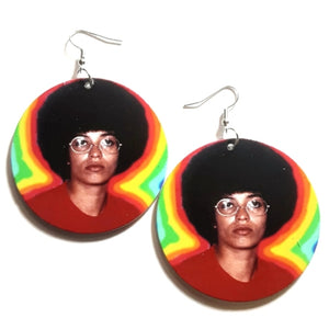 Angela Davis Afro in Colors Statement Dangle Wood Earrings