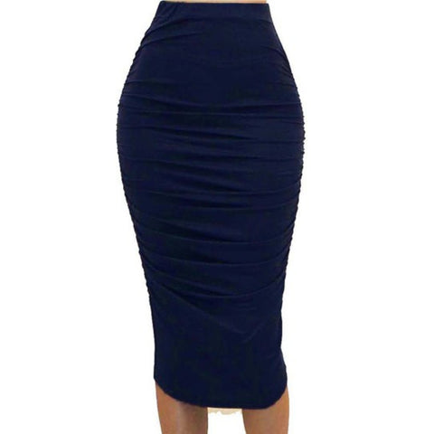 Got Style Navy Ruched Frill High Waist Mid Calf Casual Pencil Skirt