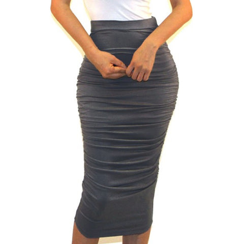 Got Style Gray Ruched Frill High Waist Mid Calf Casual Pencil Skirt