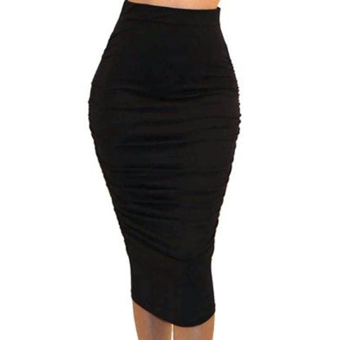 Got Style Black Ruched Frill High Waist Mid Calf Casual Pencil Skirt