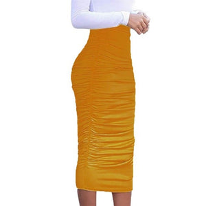 Got Style Mustard Ruched Frill High Waist Mid Calf Casual Pencil Skirt