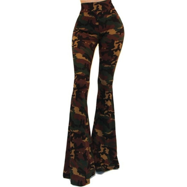 GS Green Camouflage High Waist Palazzo Bell Bottom Pants