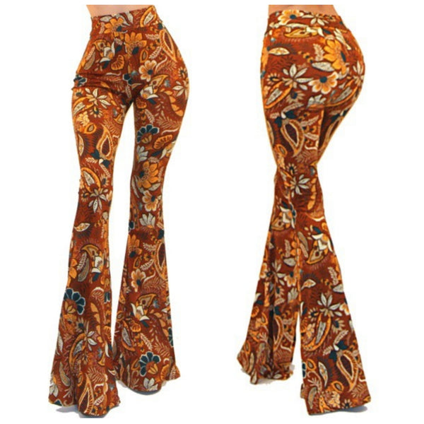 GS Vintage Rust Floral High Waist Palazzo Bell Bottom Pants