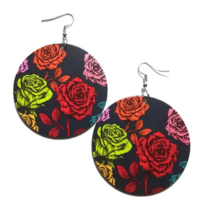 Vintage Neon Roses Statement Dangle Wood Earrings