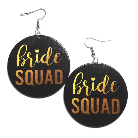 Bride Squad Small Statement Dangle Wood Earrings