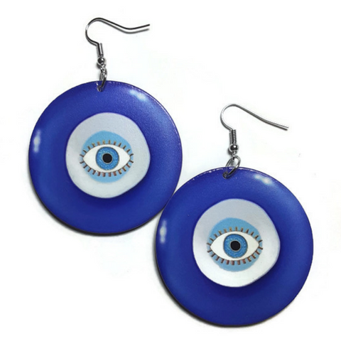Evil Eye Blue Small Statement Dangle Wood Earrings