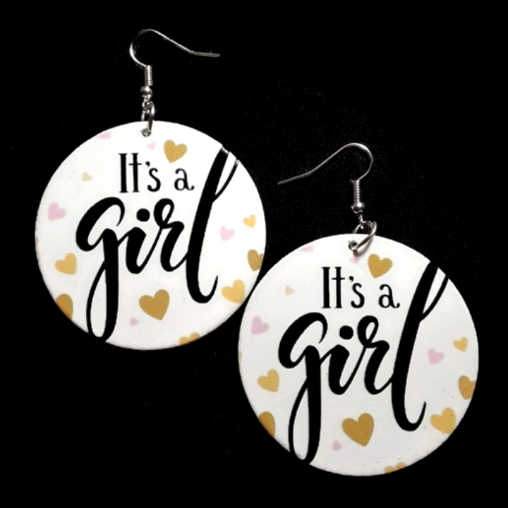 Its a Girl Small Statement Dangle Wood Earrings