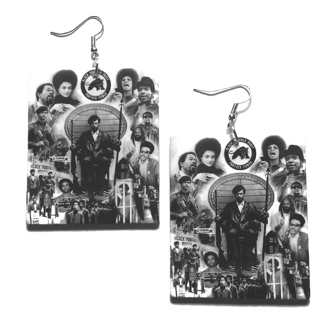 Vintage Black Panther Party Square Statement Dangle Wood Earrings