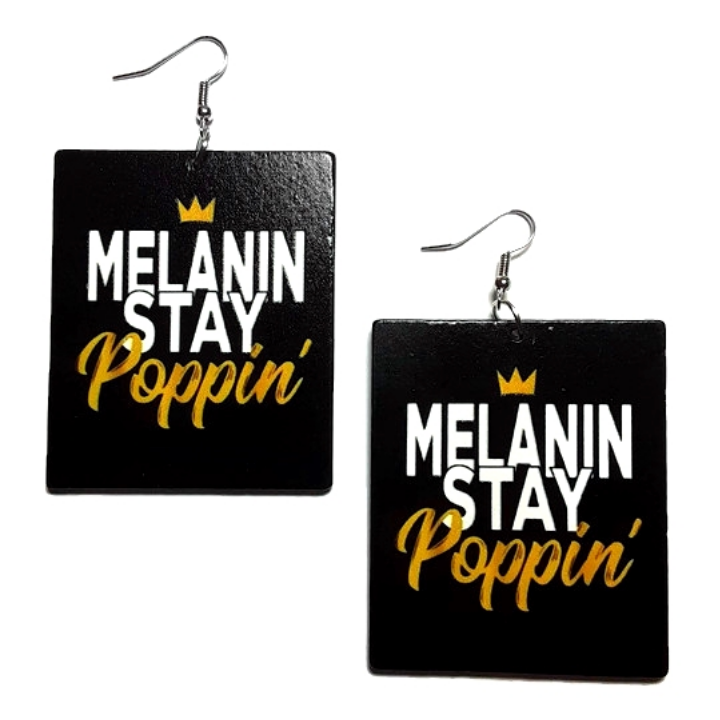 Melanin Stay Poppin Square Statement Dangle Wood Earrings