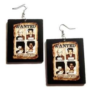 Well Behaved Women Seldom Make History Square Statement Dangle Wood Earrings