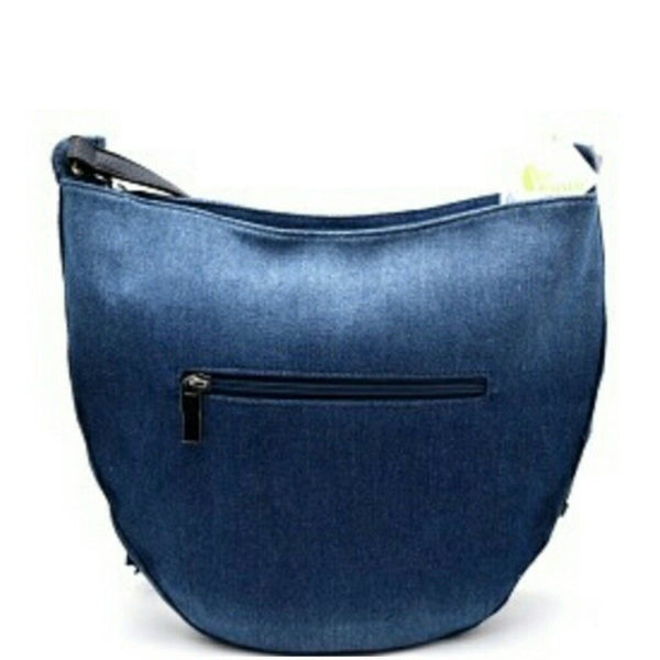 Light Blue Denim Cross Body Large Handbag with Tassel Accent