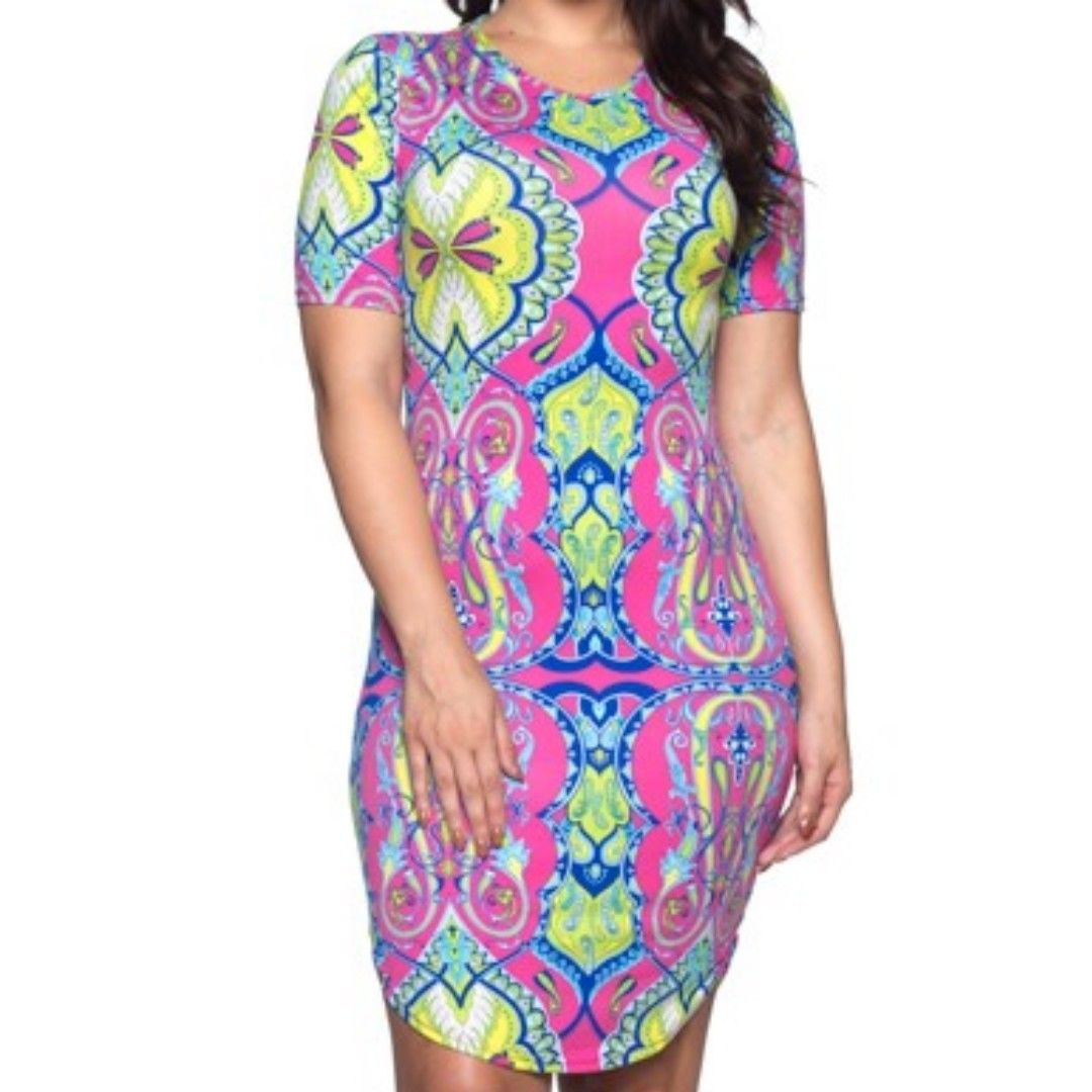 Capella Pink Tribal Pattern Print Basic Bodycon Sexy Short Sleeve Dress