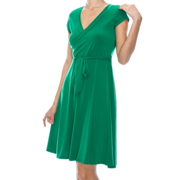 Kelly Green Solid Faux Wrap Knee Length Cap Sleeve Dress