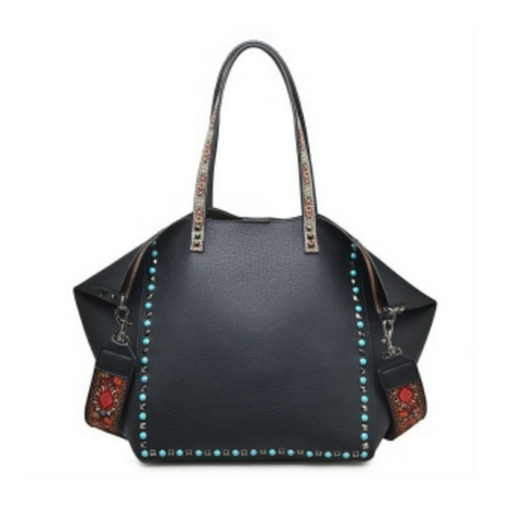 Urban Expressions Holly Black Tote Handbag with Detachable Fashion Strap