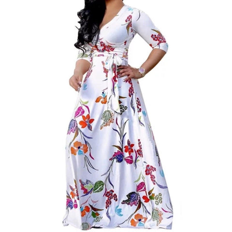 White Neon Floral Faux Wrap 3/4 Sleeve Evening Casual Maxi Dress