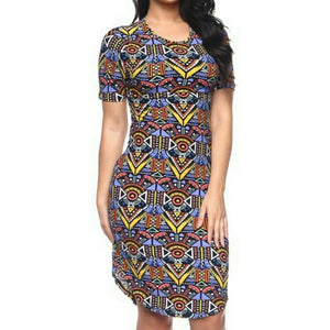 Aztec Design Tunic Midi Basic Bodycon Short Sleeve Plussize Dress