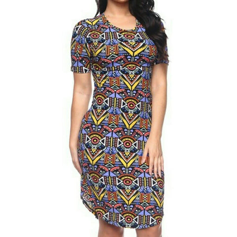 Capella Aztec Design Tunic Midi Basic Bodycon Short Sleeve Plussize Dress