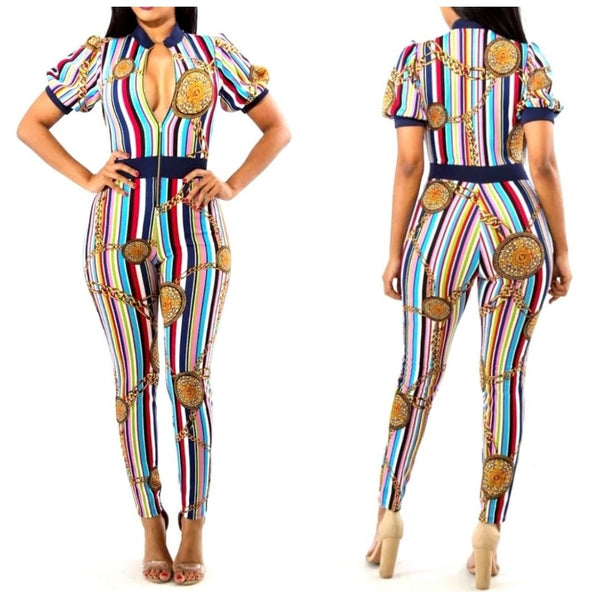 Multi Color Stripe Medallion Bodycon Casual Zipper Jumpsuit