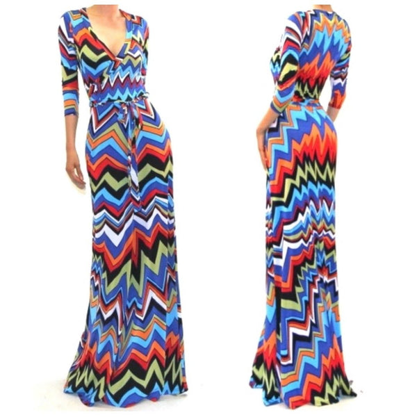 Got Style Multi Color Faux Wrap 3/4 Sleeve Casual Party Maxi Dress
