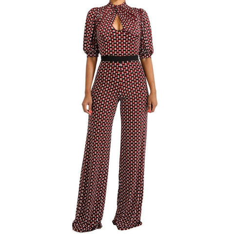 Burgundy Bow Tie Short Sleeve Casual Jumpsuit