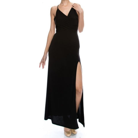Janette Fashion Silhouette Spaghetti Strap Sexy Black Maxi Evening Dress