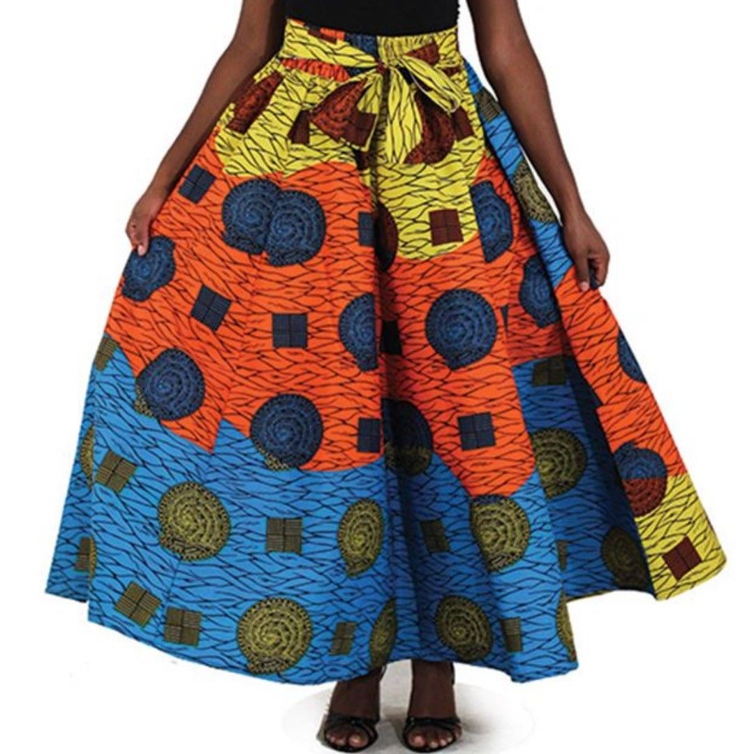 Bright African Multi Print Maxi Skirt with Matching Headwrap