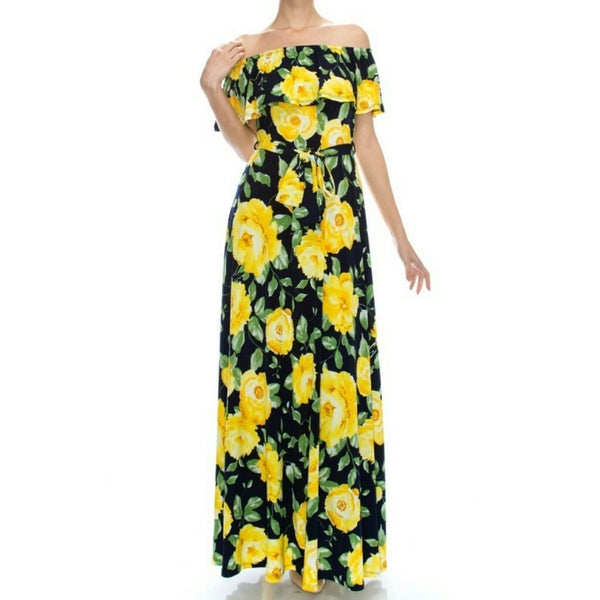 Janette Fashion Off Shoulder Navy Blue Yellow Floral Long Maxi Dress