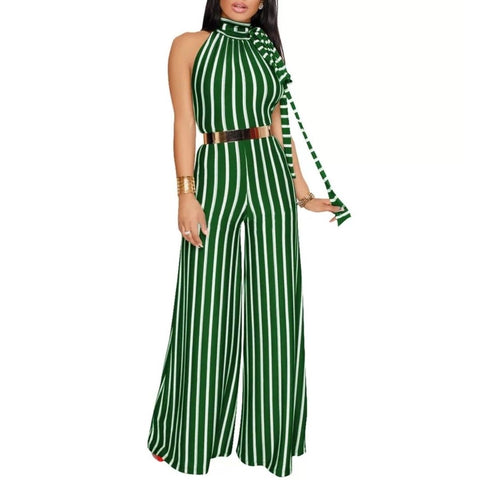 Green White Stripe Casual Halter Wide Leg Jumpsuit